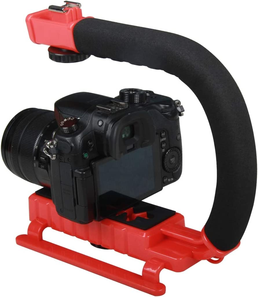 Color : Red Camera Stabilizer C-Shaped Video Handle DV Bracket Stabilizer for All SLR Cameras and Home DV Camera Black