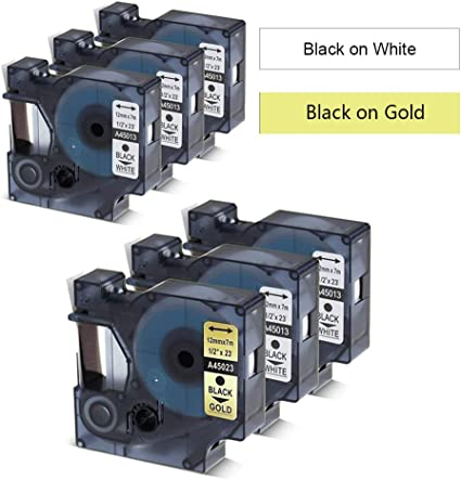 "5PK Black on White Label Tape 1//4/"" *23ft For Dymo D1 43613 LabelManager 160 450D"