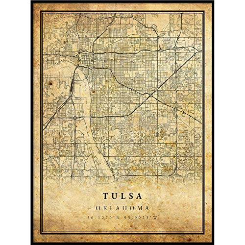 Tulsa map Vintage Style Poster Print | Old City Artwork Prints | Antique Style Home Decor | Oklahoma Wall Art Gift | map Reception 20x30 ()