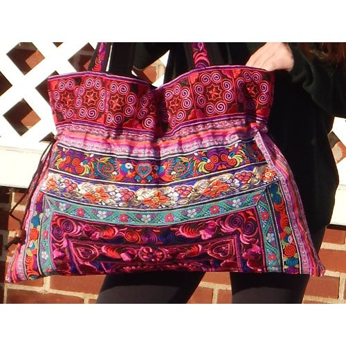 Large Hand-Made Embroidered Drawstring Tote Bag for Knitting or Travel - PINK