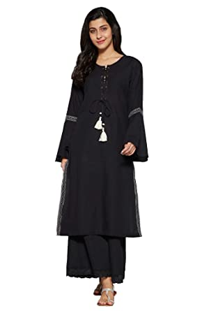 55ba27f6be2 Aahwan Solid Cotton Long Straight Kurta for Women (AC-Rivet)  Amazon ...