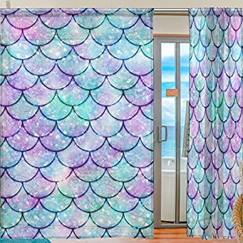 JERECY Colorful Watercolor Mermaid Scale Sheer Curtain Voile Tulle Panel Window Curtain for Kitchen Bedroom Living Room Home Decor, 55×78 inches, 2 Panels Set