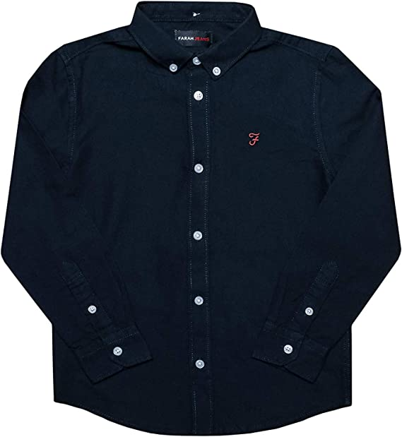 Farah Junior Boys Brewer Ls Oxford Shirt in Navy Long Sleeve Button Fastening