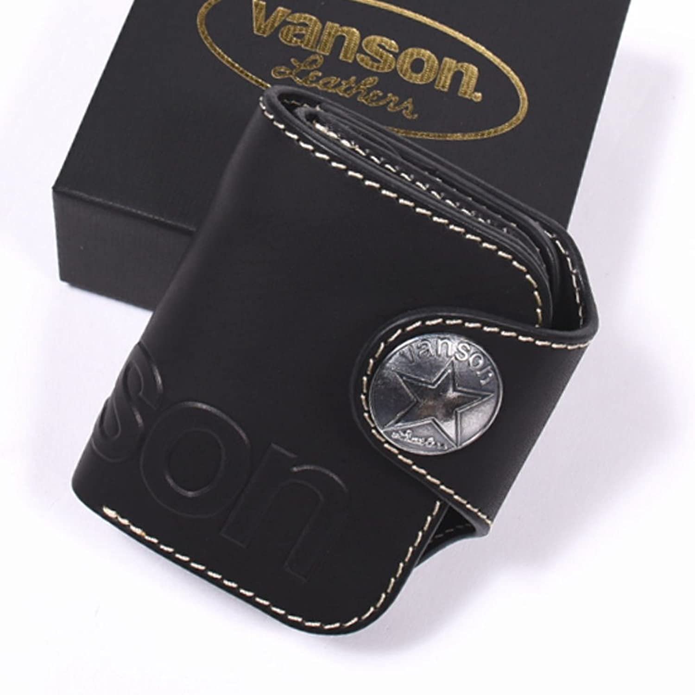 (バンソン) VANSON 本革 栃木レザー 二つ折り ショートウォレット コンチョ&型押し VP-115-02 B077PHGF35ブラック