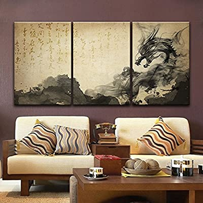 With a Professional Touch, Elegant Artistry, 3 Panel Chinese Ink Painting Style with Dragonlike Ink Splash and Calligraphy x 3 Panels