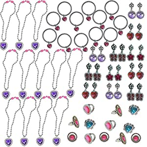 48 Piece Princess Jewelry Set - 12 Each - Necklaces, Bracelets, Clip Earrings & Rings - Rhinestone, Jewels, Silver & Shiny - For Birthday Party Favors, Piniata, Pretend Play, Costumes, & More!