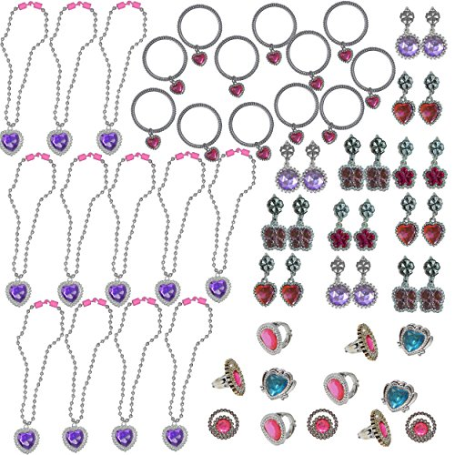 Kids For Costume Pinata (48 Piece Princess Jewelry Set - 12 Each - Necklaces, Bracelets, Clip Earrings & Rings - Rhinestone, Jewels, Silver & Shiny - For Birthday Party Favors, Piniata, Pretend Play, Costumes,)