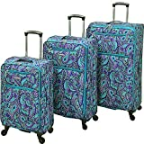 Leisure Luggage Vector Featherlights 3pc Set, Teal Paisley For Sale