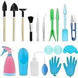 Mokylor 23 Pcs Mini Garden Tools Set, Miniature Planting Gardening Tool Set, Succulent Transplanting Tools kit