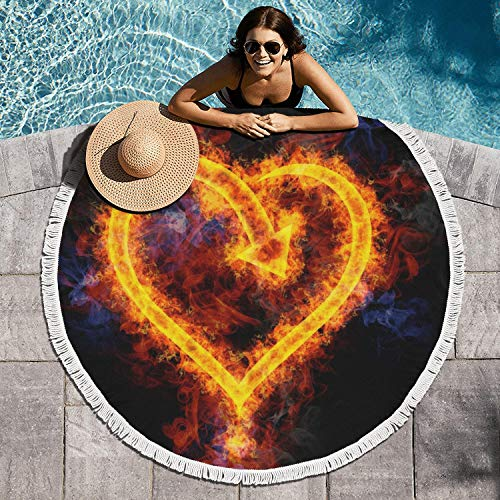 cuyde Round Beach Towel Blanket Flames Love Heart Shaped Wallpaper Bath Pool Mandala Microfiber Beach Tassels Super Water Absorbent Round Beach - Heart Calgary Flames