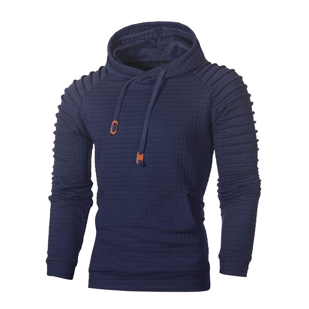 Beautyfine Men's Autumn Hoodie Hooded Sweatshirt Long Sleeve Plaid Top Fashion Tee Outwear Blouse (XXXXX-Large, Navy) by Beautyfine (Image #1)