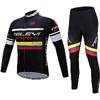Winter Men's Cycling Jersey Set, Thermal Fleece Long Sleeve Mountain Bike Road Bicycle Shirt Padded Pants, Quick-Dry…