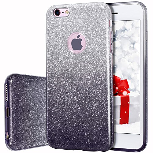 MILPROX Bling Glitter Pretty Sparkle 3 Layer Hybrid Anti-Slick/Protective/Soft Slim TPU Case Compatible with iPhone 6s Plus / 6 Plus- Black ()