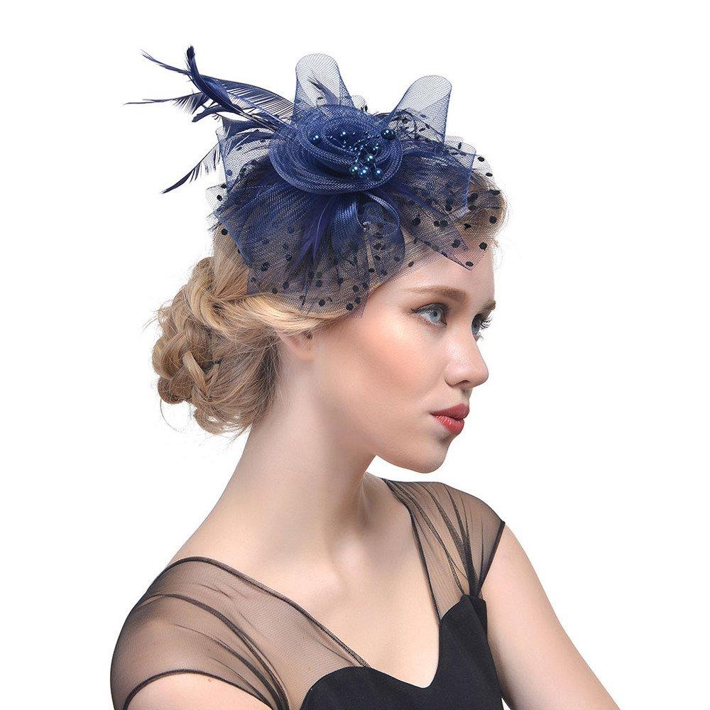 Bibao Fleur Cocktail Th/é Mariage Coiffe Fleur Chapeau Gatsby Chapeau pour Fille et Femme Chapeau de Mariage