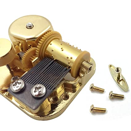 Caja de música de 18 notas, mecanismo de cuerda, metal, dorado