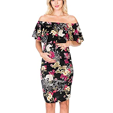 98c57bff06e Womens Pregnant Sleeveless Floral Ruffles Dress Maternity Off-Shoulder  Clothes (S)
