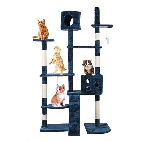 Rascador gato con plataforma tipo mirador para rascar, diseño de torre, para gatos,