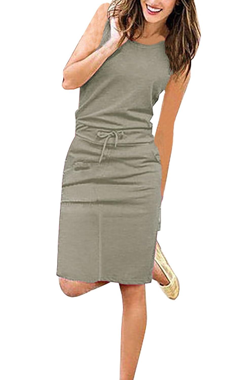 Yieune Sommerkleider Damen Abendkleid Ärmelloses Einfarbig Kleid Casual Strandkleid Langes Cocktailkleid Strickkleid