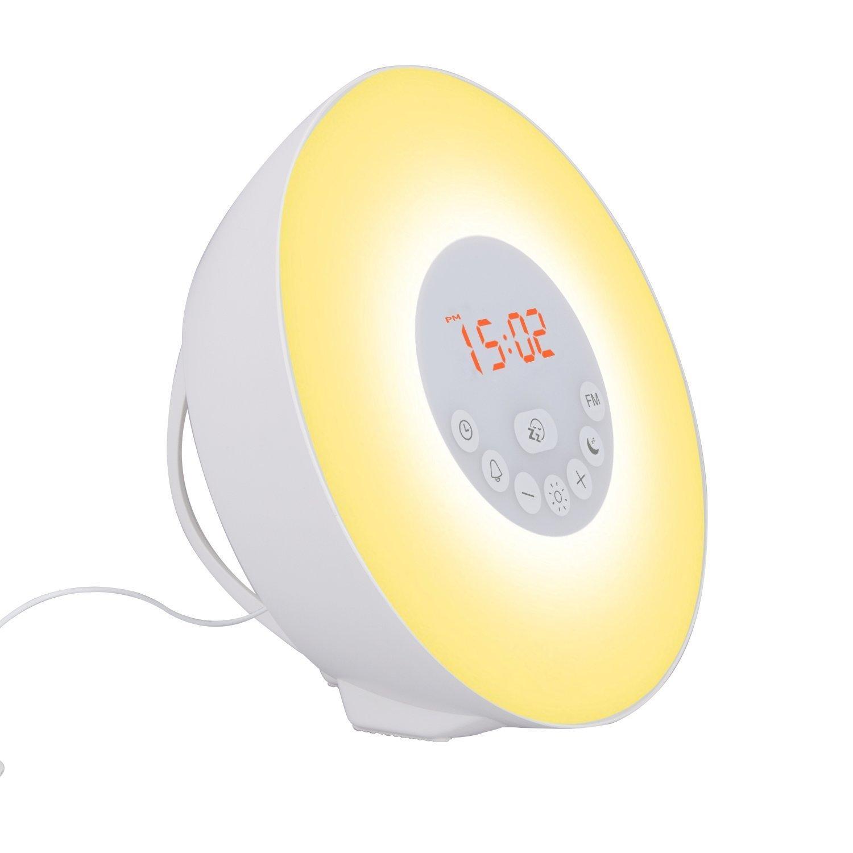 [2017 Version] AGPTEK Wake-Up Light Alarm Clock, Coloured Sunrise / Sunset Simulation, with FM Radio and Bluetooth Speaker Function, White WUL01W