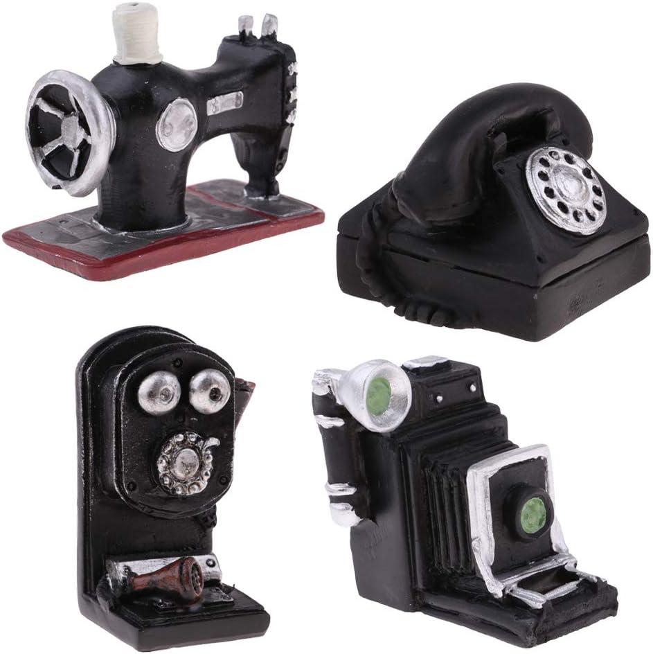 Amazon.es: Toygogo Mini Adorno De Resina - Ornamento Creativo De Teléfono con Cámara Retro Y Modelo De Máquina De Coser para 1/12 Muñecas Decoración De La Casa 4 Piezas: Juguetes y juegos
