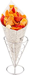 Conetek 11.5-Inch Eco-Friendly Finger Food Cones: Perfect for Appetizers - Food-Safe Paper Cone with Newsprint Styling - Disposable and Recyclable - 100-CT - Restaurantware