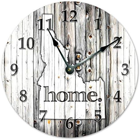 Sugar Vine Art Idaho State Home Clock Black and White Rustic Clock