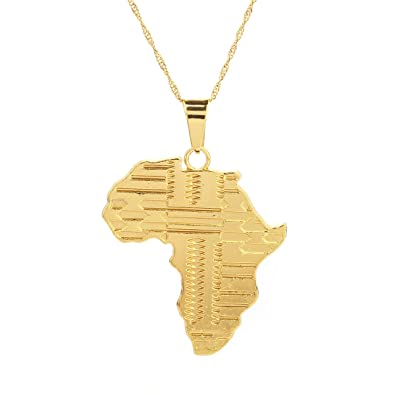 Amazon 24k gold plated big african map pendant necklace jewelry 24k gold plated big african map pendant necklace jewelry for women aloadofball Images