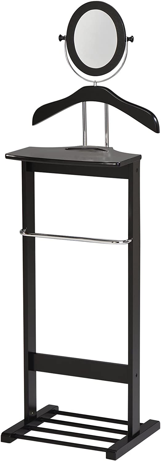 Kings Brand Millett Wood Suit Valet Stand Clothes Rack Black Chrome Amazon Co Uk Diy Tools