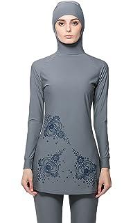 a01cfe64cf87f Ababalaya Womens  4PCS Islamic Conservative Muslim Swimwear Top Long  Pants Sports Bra with Hijab