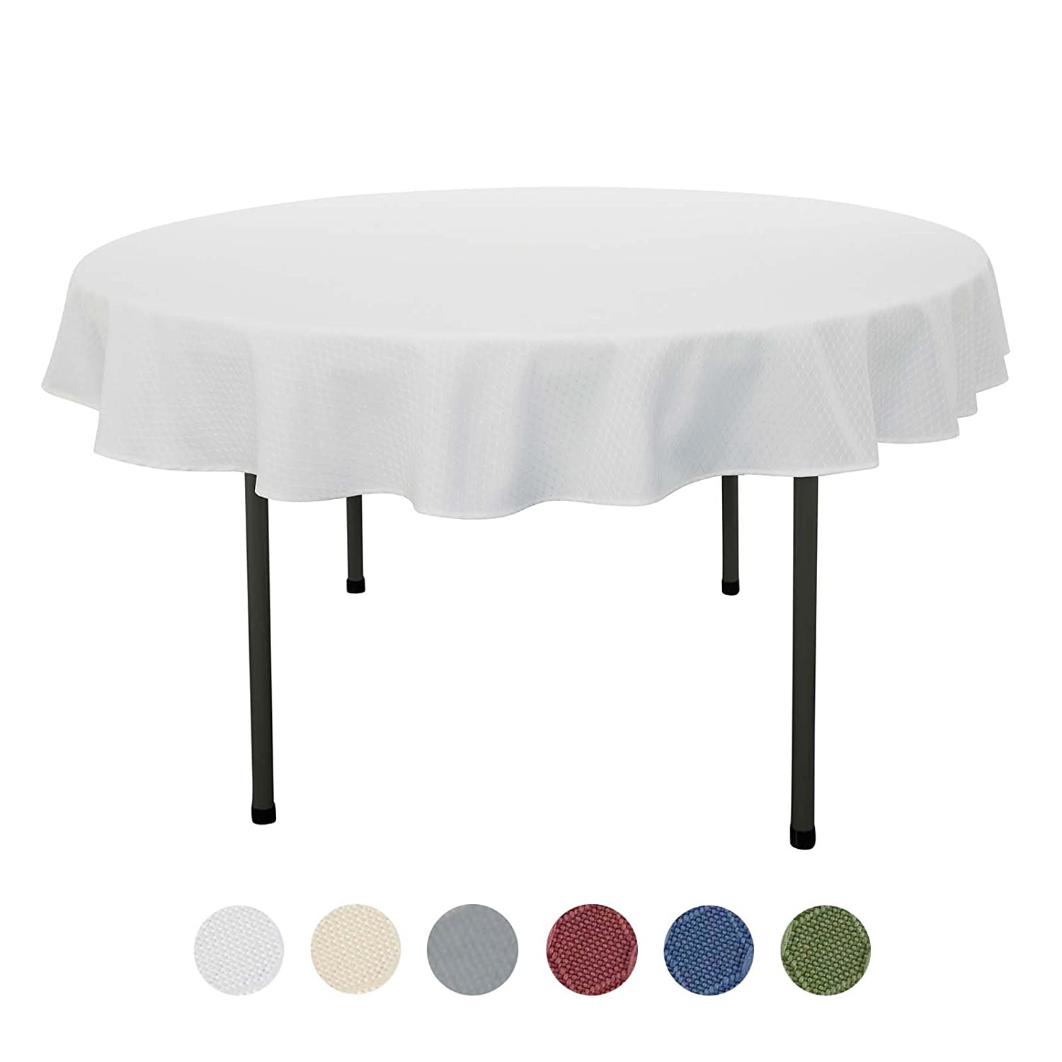 VEEYOO 60 inch Waffle Jacquard Round Polyester Spillproof Tablecloth for Restaurant Kitchen Dining Party Venue Decor, Pearl White