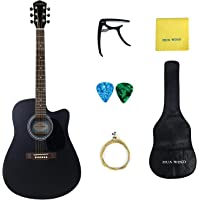 HUAWIND Acoustic Guitar Package 41inch Full Size 4/4 Spruce Top Guitar with Gig Bag,Capo,Steel String,Cleaning Cloth ,Picks,Guitar Hanger-Natural Spruce (41 inch black)