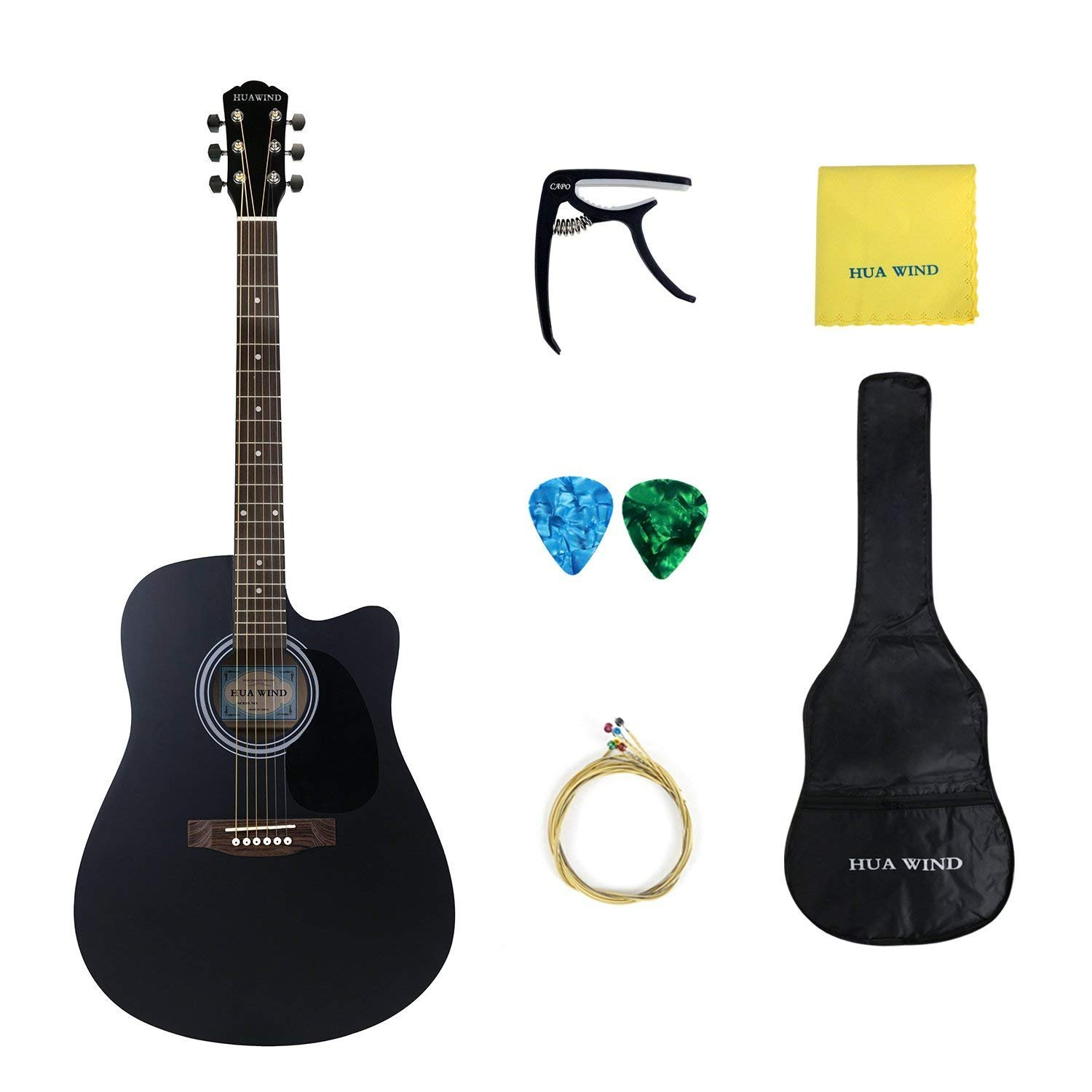 HUAWIND Full Size Acoustic Cutaway Guitar Steel String Dreadnought Complete Starter Kit (Matte Black Cutaway)  Ltd. HW41-AGCBK
