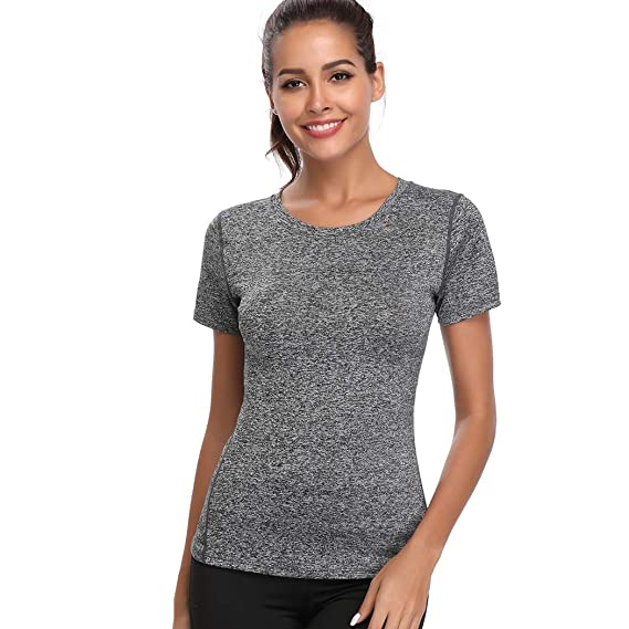 c470ced9e276 Joyshaper Compression Tops Women Quick Dry Fit Tank Sweat Shirt T-Shirt Tee  Short Sleeves Sports Workout Athletic Fitness Running Activewear   Amazon.co.uk  ...