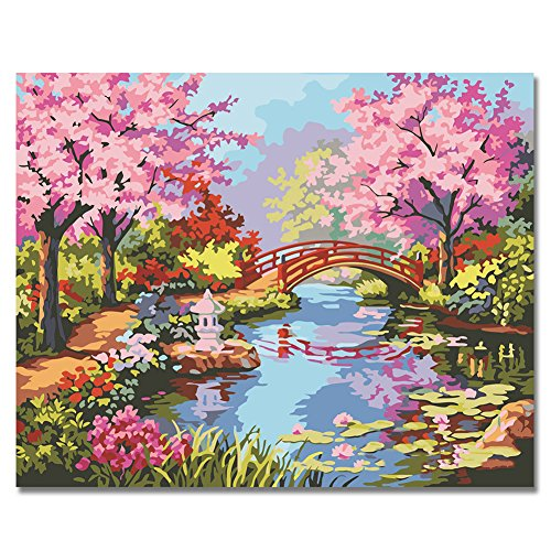 Paint By Number Walls (Rihe Paintworks Diy Oil Painting Paint By Number Kits Japanese Garden Unique Gift 1620 Inch (Frameless))