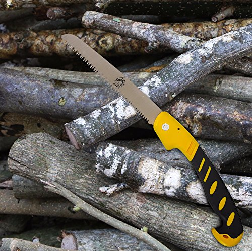 "Hand Saw Camping Accessories Drywall Tools Pruning Woodworking Gardening Hunting Hiking Small Folding Tool Tree Survival Emergency | Ergonomic Handle Safety Lock Triple Ground Teeth 8"" Blade By Fire45 Gardening Tools And Accessories"