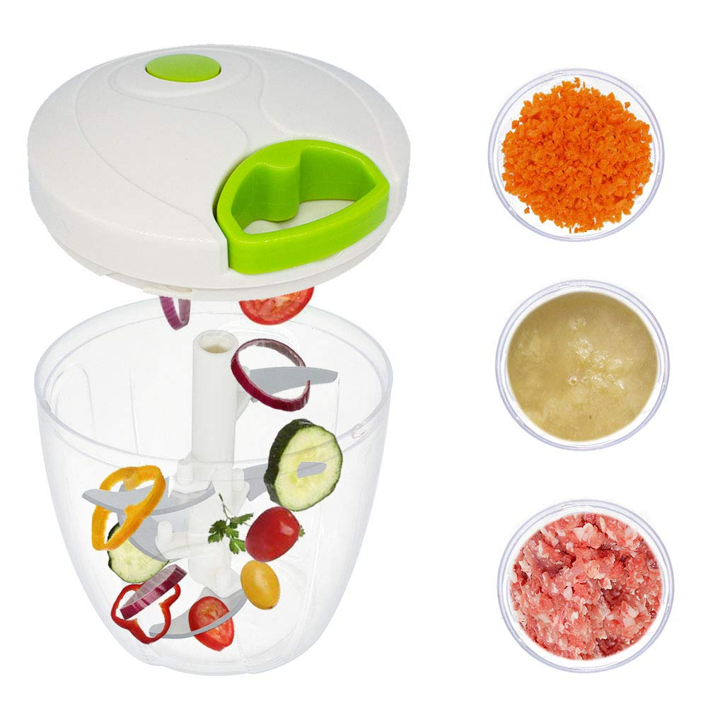 CHEFLY Hand Held Mini Vegetable Food Chopper Mincer All in One with String and 5 Blades Garlic Onion Slicer Cutter Dicer Blender for Salad Seasoning Pesto S1802-1