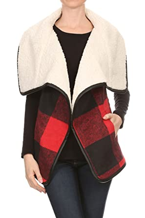 ce07fd848f8 Love Tree Women s Red Buffalo Plaid Vest Faux Shearling Lined  S  at ...