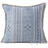 "Eyes of India 16"" Blue Indigo Hmong Printed Couch Pillow Cover Cushion Colorful Throw Sofa Indian Bohemian Boho"