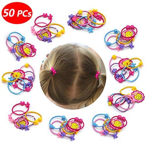 50 PCS Cute Hair Ties Head Bands Ropes Hair Colorful Elastics Ponytail Holder for Baby Toddler Girl Rabbit Ear Apple Rose Heart Nine Styles