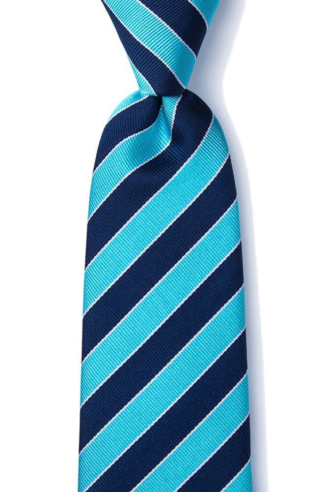 Men's 100% Silk Fane American Repp Striped Stripe Tie Necktie (Navy Blue & Turquoise)