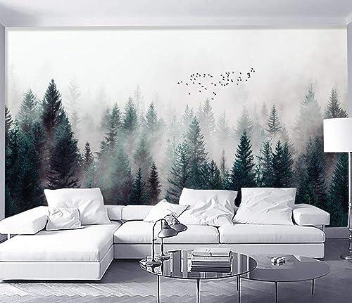 Amazon Com Murwall Dark Forest Wallpaper Misty Jungle Wall Mural Landscape Wall Print Rustic Home Decor Cafe Design Living Room Bedroom Handmade