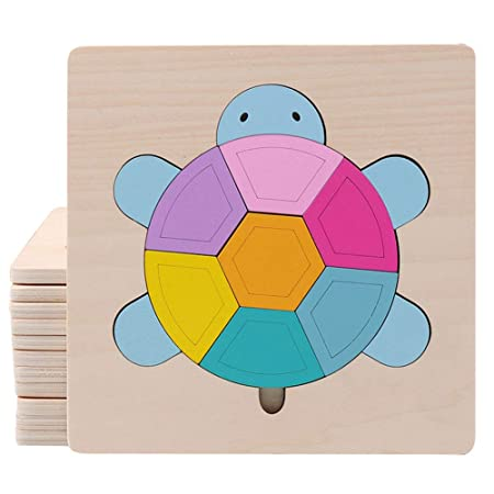 FidgetGear Cartoon Wooden Jigsaw Puzzles for Kids Toddlers Animal Puzzle Blocks Educational Toy for Boys Girls Tortoise