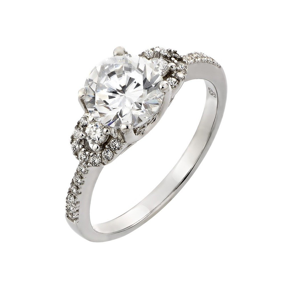 Round Center Clear Cubic Zirconia Designer Sides Ring Rhodium Plated Sterling Silver