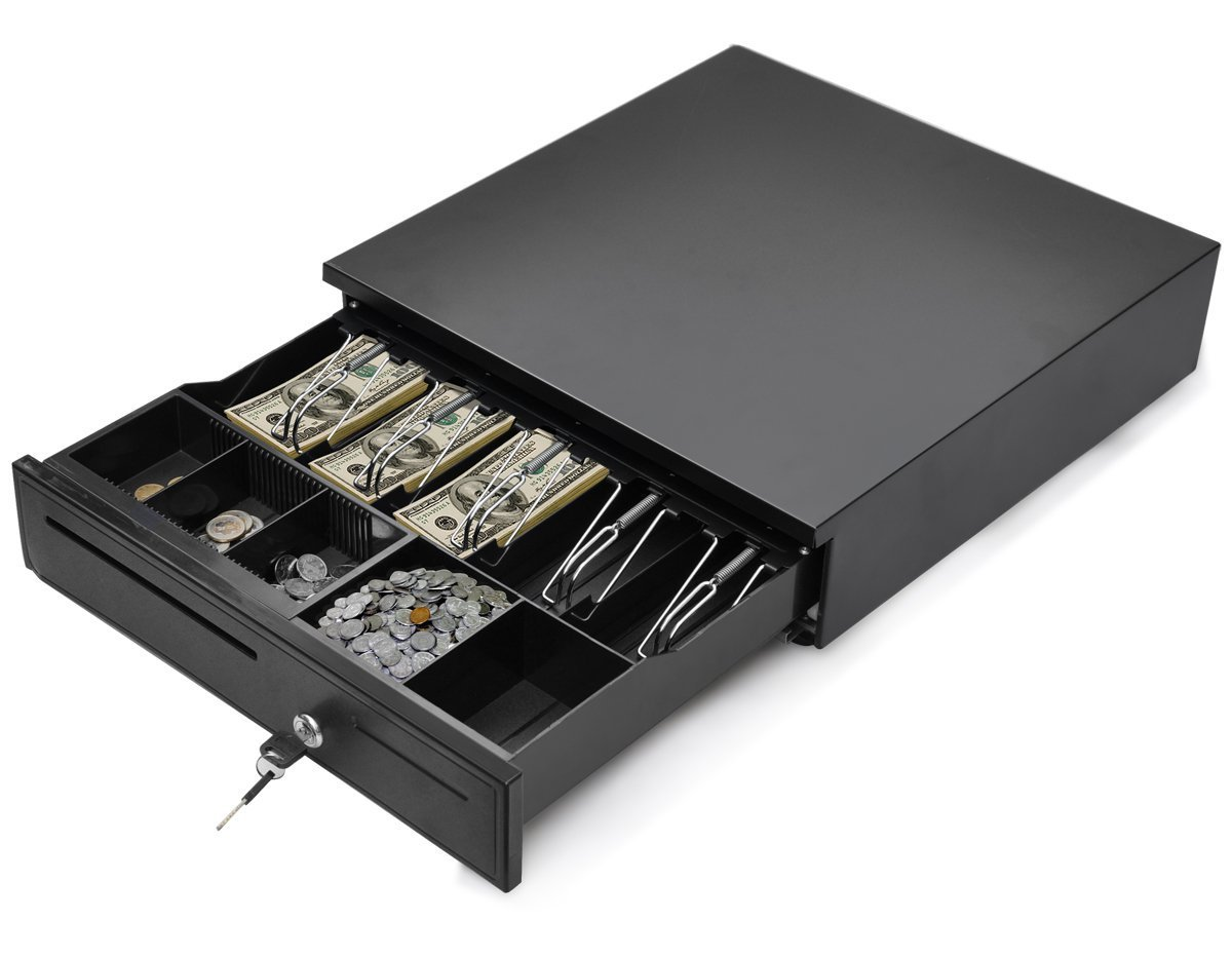 Tangkula Cash Register Drawer Box Portable Money Lock Storage with Removable Tray, 5Bill/5Coin Works Compatible Epson POS Printers Cash Box (black)