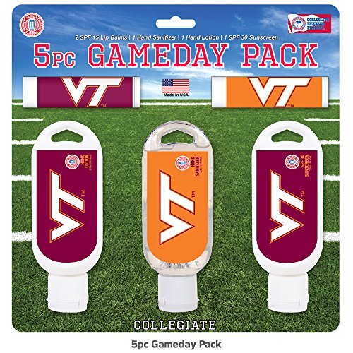 Worthy Promo NCAA Virginia Tech Hokies 5-Piece Game Day Pack with 2 Lip Balms, 1 Hand Lotion, 1 Hand Sanitizer, 1 SPF 30 Sport Sunscreen