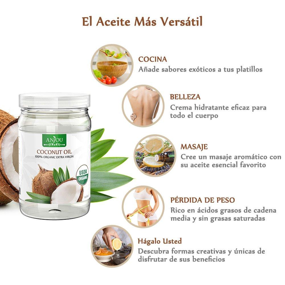 Anjou Aceite de COCO Orgánico 100% Extra Virgen sin Refinar, Prensado en Frío, Certificado USDA - 946mL: Amazon.es: Alimentación y bebidas