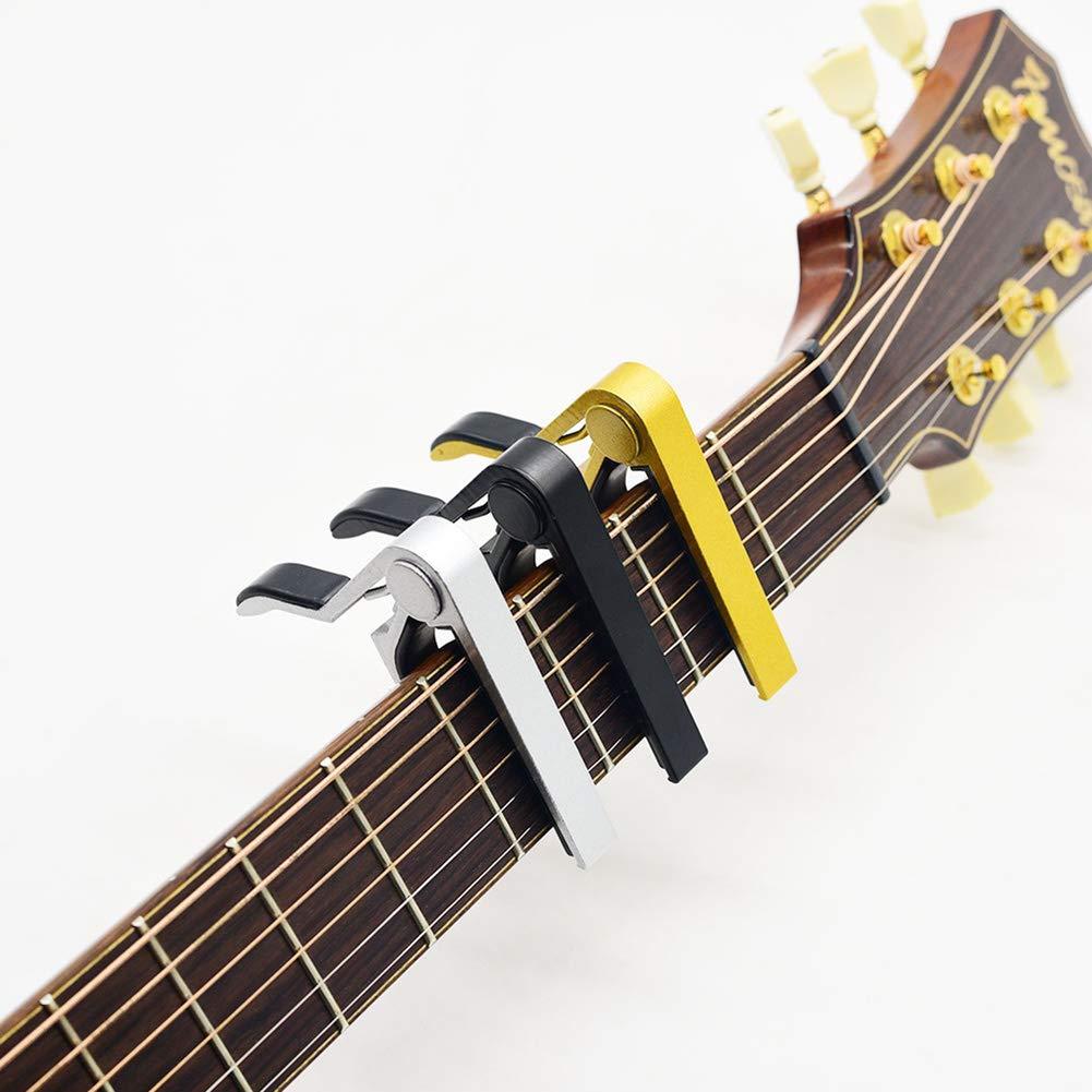 Cejilla Guitarra Capo para Uktunu Electr/ónica Guitarra Cl/ásica Ac/ústica Banjo Mandolina Viol/ín Capo Pinza de una Mano Accesorio de Guitarra con P/úa de Guitarra Paquete de 5