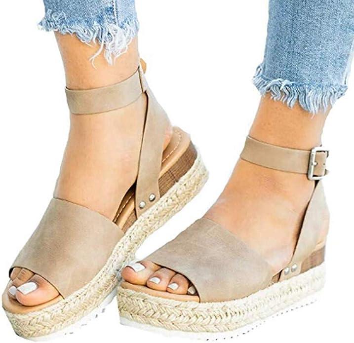 Cliramer 2019 New Womens Fashion Summer Flats Wedges Open Toe Ankle Beach Travel Shoes Comfy Platform Sandal Shoes