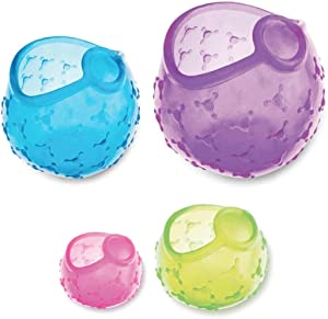 LETOOR Stretch Lids The Reuseable Silicone Huggers are Durable and Expandable to Fit Various Unique Shapes and Sizes, Saver Cover for Food Fruits, 5.5 inch, 4 Colors