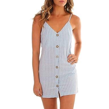 49aadeff Scaling ❤ Women Dress,Women Summer V-Neck Striped Mini Dress Boho Button  Down